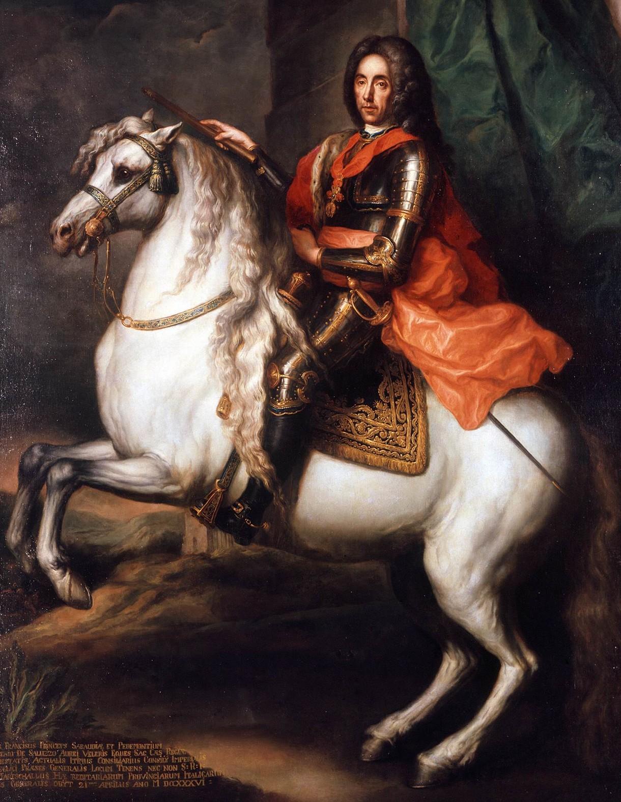 Gemälde von Prinz Eugen von Savoyen auf einem Pferd.