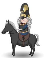 Maskottchen Eugen auf einem Pferd in Uniform mit Helm.