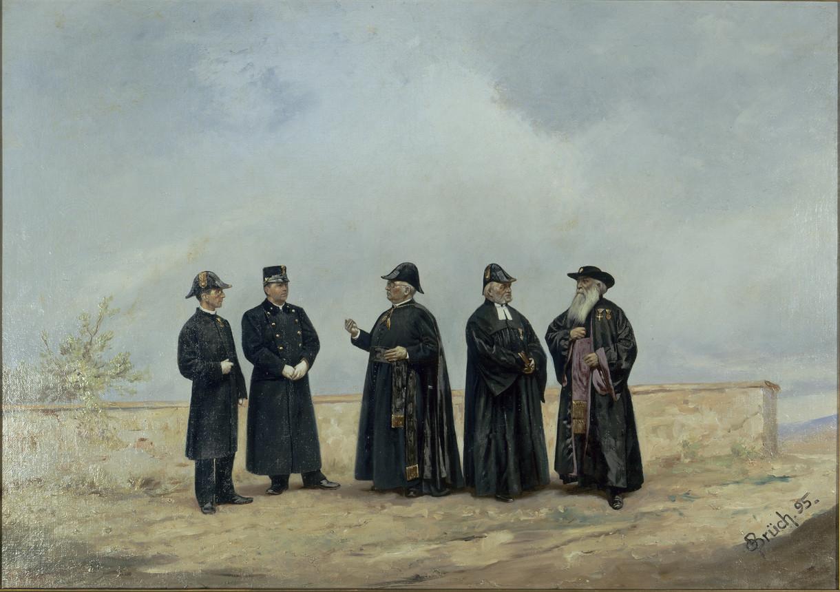 Gemälde mit Militärgeistliche, die sich vor einer niedrigen Mauer unterhalten.