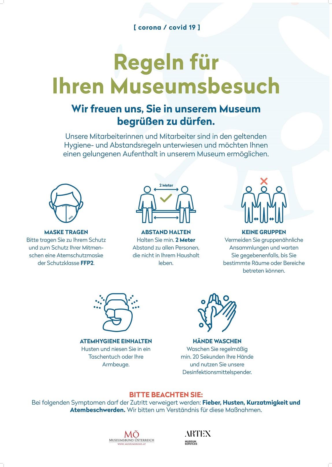Covid-19-Regeln für den Museumsbesuch: FFP2-Maske tragen, Abstand halten, keine Gruppenbildung, Atem- und Handhygienemaßnahmen