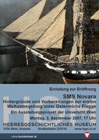 """Ausstellungsplakat """"SMS NOVARA – Hintergründe und Vorbereitungen zur ersten Weltumsegelung unter Österreichs Flagge"""" mi Foto eines Segelschiffes."""
