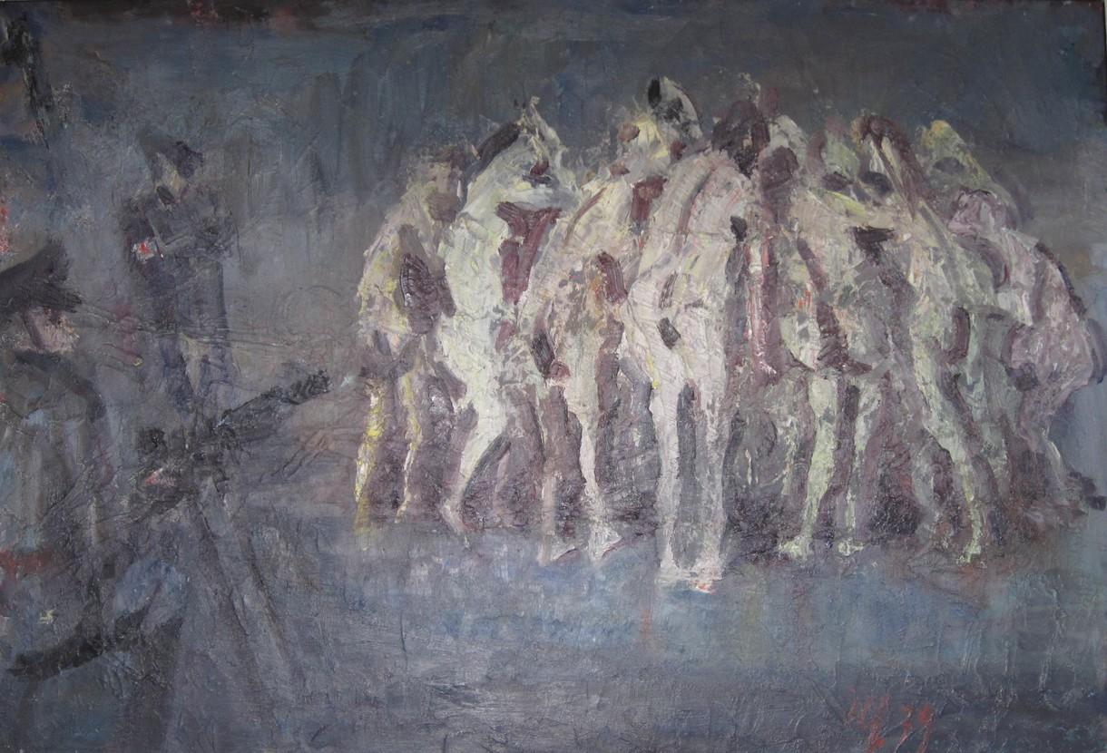 Gemälde, auf dem Gestalten in einer Gruppe zusammenstehen und von Bewaffneten bedroht werden.