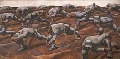 """Detailansicht des Gemäldes """"Den Namenlsoen 1914"""" von Albin Egger-Lienz: geduckte, zum Teil verletzte Soldaten gehen über ein Feld."""