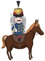 Maskottchen Eugen in Uniform mit Säbel auf einem Pferd.