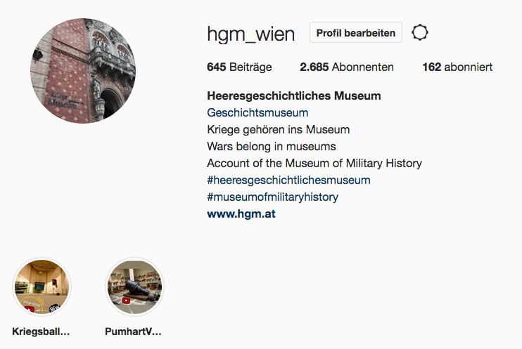 Informationsseite des Instagram-Kanals.