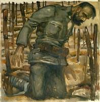 Gemälde eines knienden verletzten Manns in Uniform.