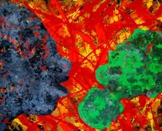 Abstraktes Gemälde in knalligen Farben.