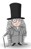 Maskottchen Eugen als eleganter Herr mit Gehstock, Mantel und Hut.