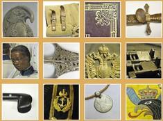 Fotocollage von Kunstobjekten, Teppichen, Büsten und Schmuckstücken.