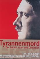 """Ausstellungsplakat """"Tyrannenmord"""" mit Adolf Hitler im Profil."""