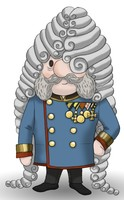 Maskottchen Eugen als Kaiser Franz Joseph mit Backenbart.