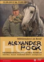 """Ausstellungsplakat """"Alexander Pock – Militärmalerei als Beruf"""" mit einem Soldaten neben einem Pferd."""