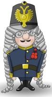 Maskottchen Eugen in Paradeuniform.
