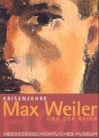 """Ausstellungsplakat """"Krisenjahre. Max Weiler und der Krieg"""" mit einem gemalten Gesicht in Nahaufnahme."""
