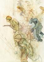 Skizze von Soldaten, die zum Angriff stürmen.