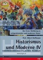 """Ausstellungsplakat """"Historismus und Moderne IV"""" mit einem Gemälde von Soldaten in knalligen Farben."""
