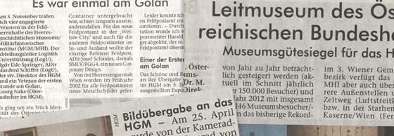 Zeitungsartikel zum HGM