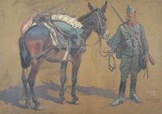 Gemälde mit Soldat, der ein bepacktes Maultier am Zügel hält.