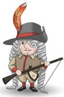 Maskottchen Eugen mit Gewehr und Hut mit großer Feder.