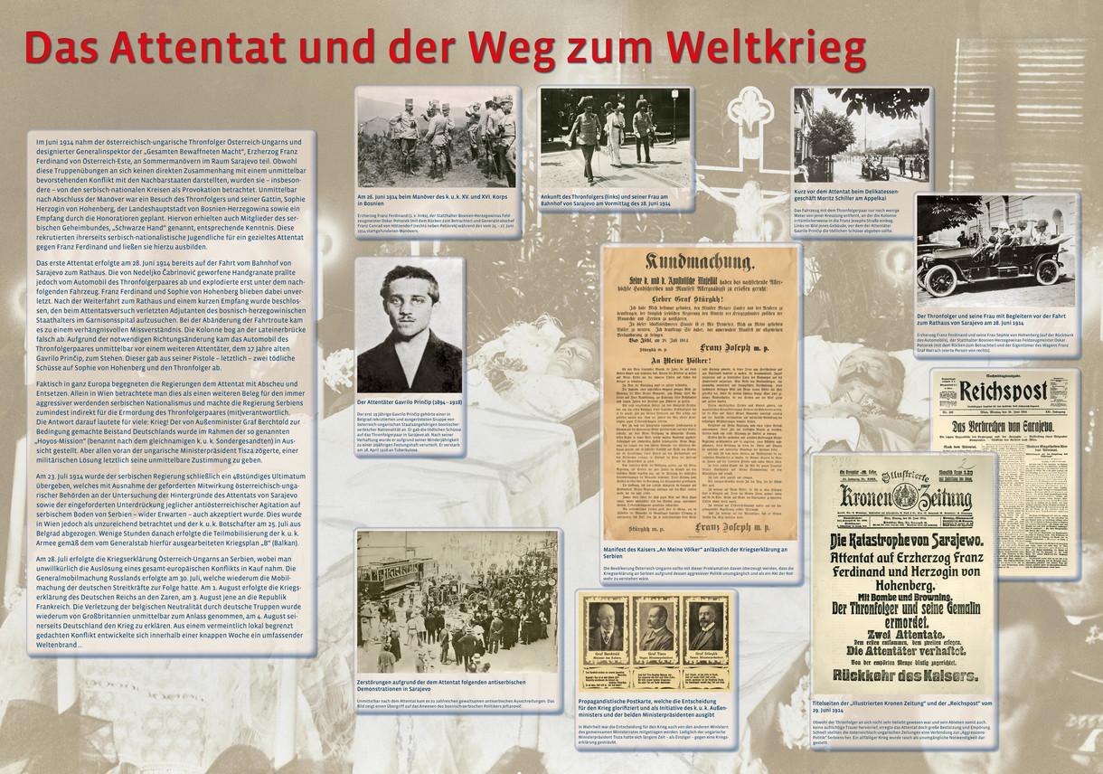 Plakat vom Attentat und der Weg zum Weltkrieg