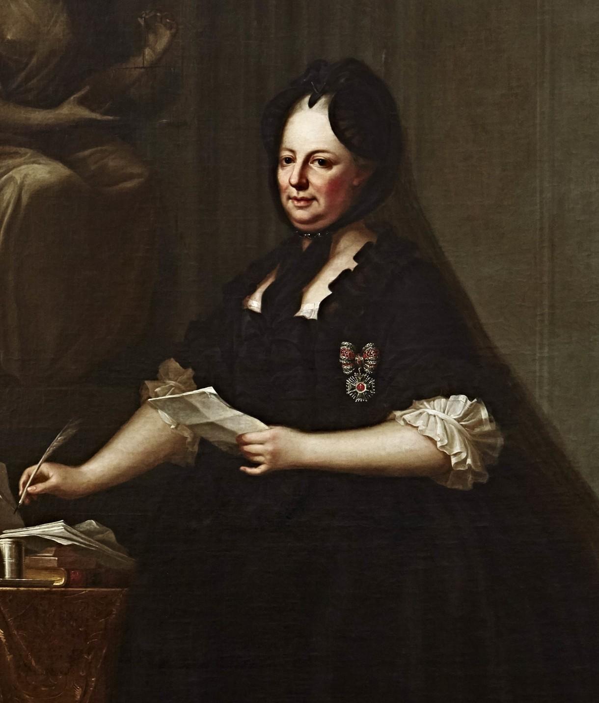 Gemälde von Maria Theresia mit einem Brief in der Hand.