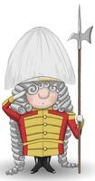 Maskottchen Eugen als Wache mit Lanze, Uniform und Federhut.