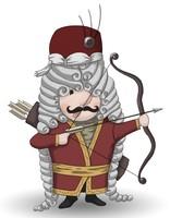 Maskottchen Eugen in osmanischer Uniform mit Pfeil und Bogen.