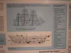 Schautafel mit Skizze eines Segelschiffes und Querschnitt des Rumpfes.