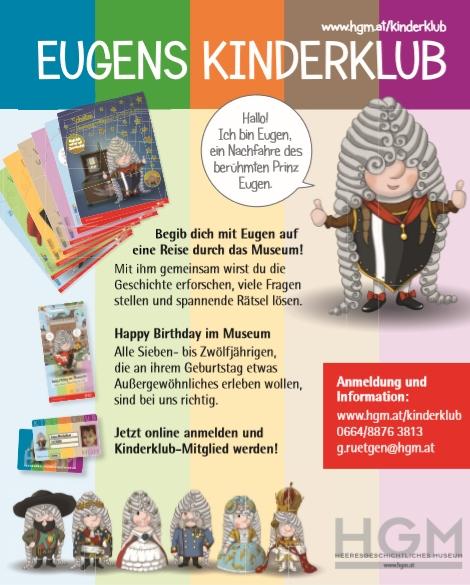 """Deckblatt der Broschüre für den Kinderklub mit Symbolfigur """"Eugen"""" in verschiedenen Kostümen und kurzen Texten."""