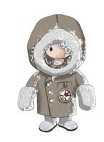 Maskottchen Eugen mit dicken Fäustlingen und warmen Wintermantel.