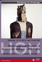 """Ausstellungsplakat """"Historismus und Moderne II"""" mit gesichtsloser Skulptur, die einen König mit Krone darstellen soll."""
