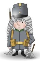 Maskottchen Eugen als einfacher Soldat in Uniform.