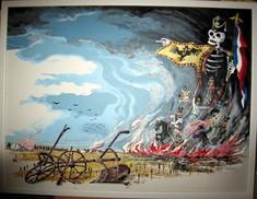 Gemälde, auf dem ein Skelett mit französischer und österreichischer Fahne von einem brennenden Schlachtfeld aufsteigt.