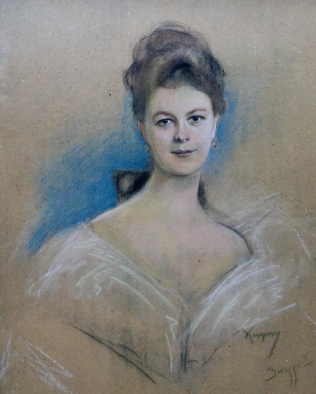 Porträtzeichnung einer Frau.