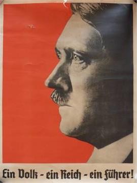 Plakat mit Adolf Hitler im Profil.