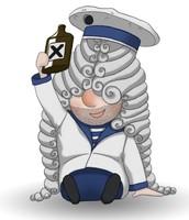 Maskottchen Eugen als betrunkener Matrose mit einer Flasche in der Hand.