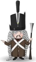 Maskottchen Eugen mit altem Gewehr, Uniform und hohem Hut.