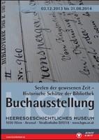 """Ausstellungsplakat """"Seelen der gewesenen Zeit − Historische Schätze der Bibliothek"""" mit Nahaufnahme eines Bibliothekskatalogeintrags."""