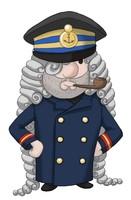Maskottchen Eugen als Kapitän mit Pfeife.