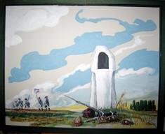 Gemälde mit Wachturm am Feld, am Horizont ziehen französische Soldaten mit Fahne ab.