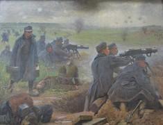 Gemälde mit Soldaten, die auf dem Schlachtfeld in zwei Gruppen mit Geschützen schießen.