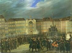 Gemälde von vielen Männern auf einem Stadtplatz versammelt.