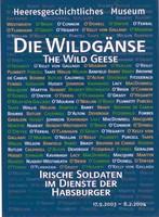 """Ausstellungsplakat """"Die Wildgänse – Irische Soldaten im Dienste der Habsburger"""", auf dem die Namen der Soldaten aufgelistet sind."""