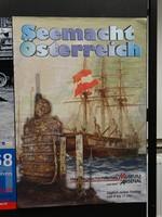 """Ausstellungsplakat """"Seemacht Österreich"""" mit einem Segelschiff mit Österreich-Fahne und davor das U-Boot U 20 im Wasser."""