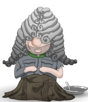 Maskottchen Eugen als Gefangener mit Narbe im Gesicht, zugedeckt und mit leerem Teller.