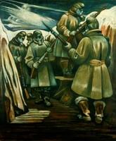 Gemälde mit bewaffneten Soldaten mit Mänteln und Gasmasken.