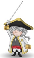 Maskottchen Eugen als französischer Soldat mit erhobenem Säbel.