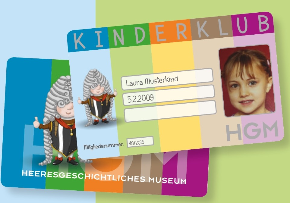 """Bunter Kinderklubausweis mit Symbolfigur """"Eugen"""", Felder für Namen und Mitgliedsnummer und Porträtfoto."""