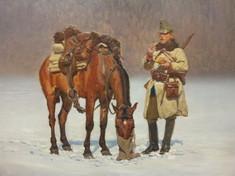 Gemälde mit einem bepackten Pferd mit Futtersack im Schnee, daneben ein Soldat, der im Stehen isst.