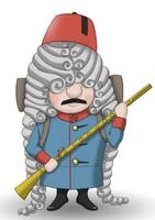 Maskottchen Eugen mit Fez und Muskete.